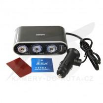 JARNÍ SLEVA: Autoroztrojka - rozbočovač s vypínači 3+1 USB, typ TC-0306