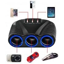 Autoroztrojka - rozbočovač 3+3 USB, černá/červená