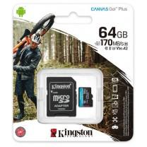 obrázek Paměťová karta Kingston Canvas Go! Plus MicroSDXC 64GB UHS-I U3 (170R/70W) + adaptér